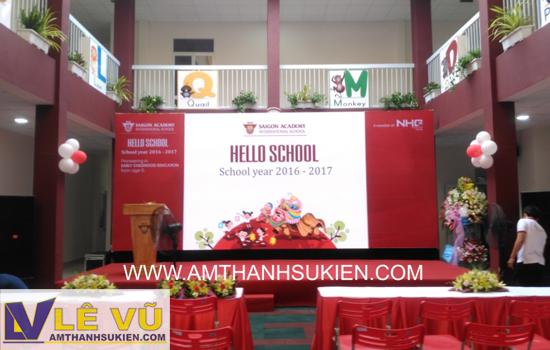 Cho thuê âm thanh ánh sáng, sân khấu, màn hình led khai trương 4 cơ sở mới thuộc Hệ thống trường Mầm non Sài Gòn Academy